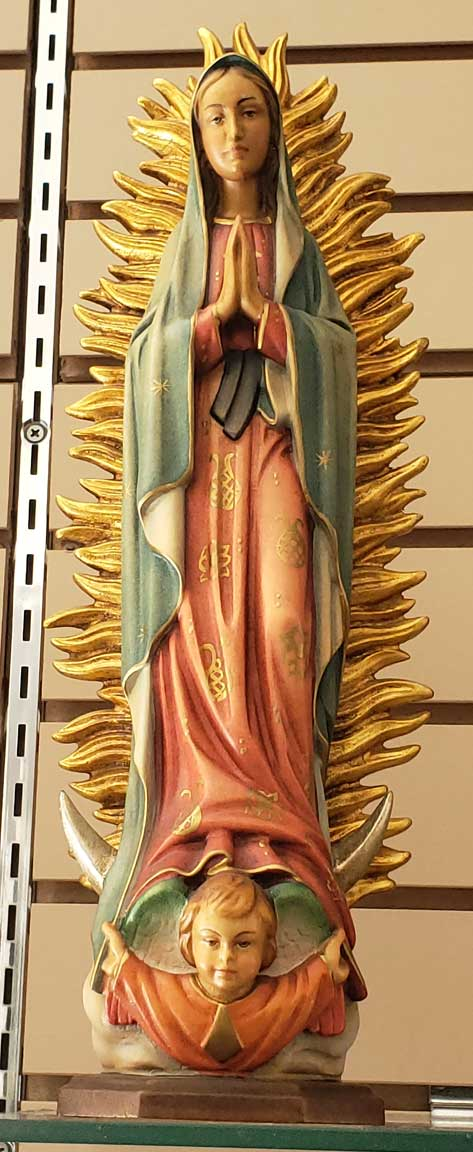 "12"" Our Lady Of Guadalupe Statue Wood Carved In Lindenwood Made In Italy"
