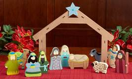 12pc Wooden Childrens Nativity Set