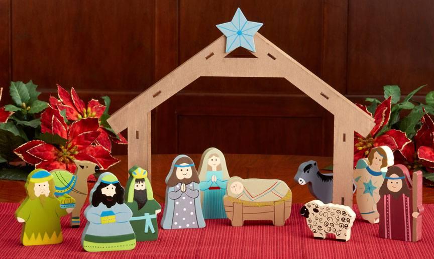 pretty nice 707de 4f060 12pc Wooden Children's Nativity Set