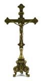 34 cm tall Altar Cross made of polished brass Made In Italy?
