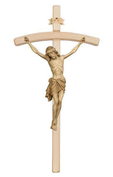 "13"" Stained Wood Crucifix with Bent Cross and 6"" Corpus from Italy"