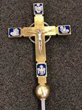 "Processional Cross ""EVANGELIST"" -with Free Base Processional Cross, Processional Crucifix, enamel cross, gold leafed processional cross, Italian processional cross, pro cross,"