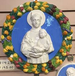 "14"" St. Anthony & Child Della Robbia Wall Hanging *WHILE SUPPLIES LAST*"