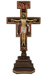 "14"" Standing San Damian Cross Lightly Painted Cold Cast Bronze A Veronese standing San Damian crucifix in fully hand-painted color 14""."