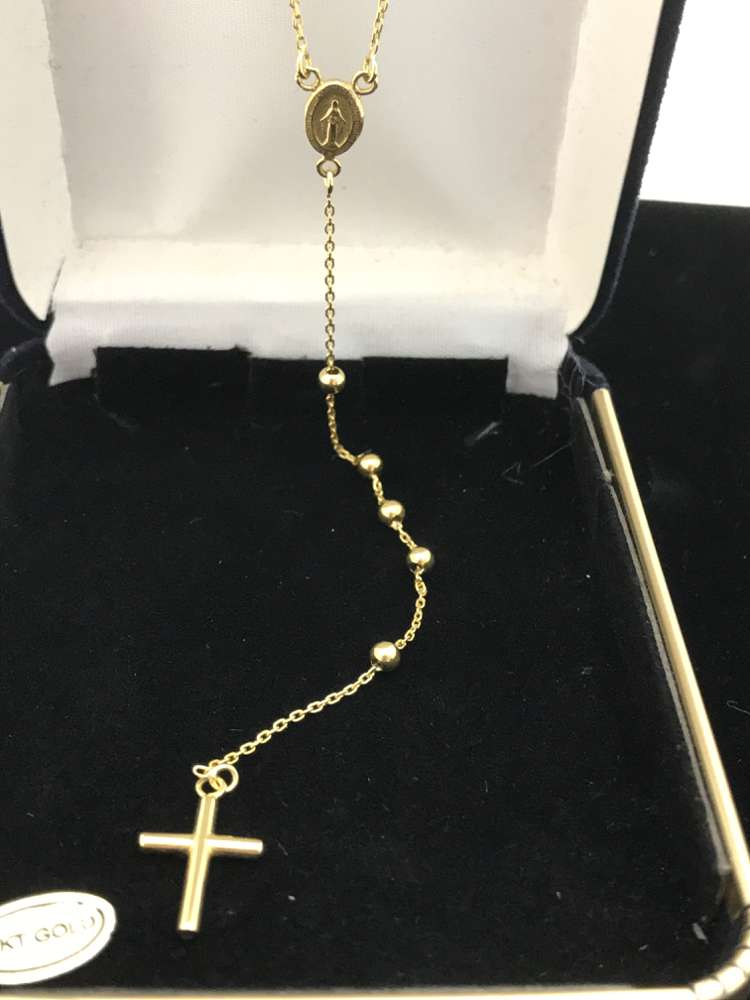 14KT Gold 2 Mm Bead Rosary