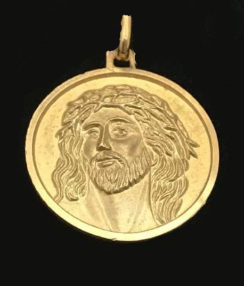 14KT Gold Ecce Homo Medal Only  Ecce Homo Medal Made in Italy 34-18, gold medal, necklace, medal only, ecce homo, religious medal, jesus