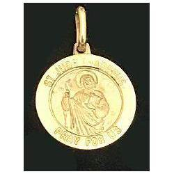 "14KT Gold St. Jude Medal Only 14KT 5/8"" Round St. Jude Medal Made in Italy 17-15, st. jude, patron saint, gold medal, patron saint medal, medal only, hopeless cases, necklace"