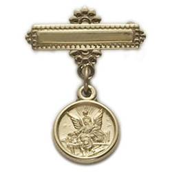 14kt Gold Filled Baby Guardian Angel Medal on Sterling Silver Bar Pin