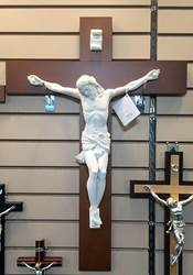 "27"" Alabaster and Wood Wall Crucifix"