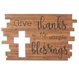 "15"" Give Thanks for Simple Blessings Wall Cross Plaque"