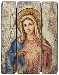 "15"" Immaculate Heart Decorative Panel wall decor , wall panel, decorative panel, home decor, church decor, mary panel, immaculate heart of mary, 69968"