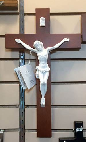 "16"" Alabaster and Wood Wall Crucifix"