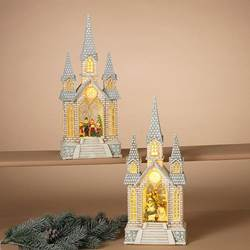 16-Inch Tall Battery Operated Lighted Spinning Water Globe Church with Holiday Scene & Timer, 2 Assorted