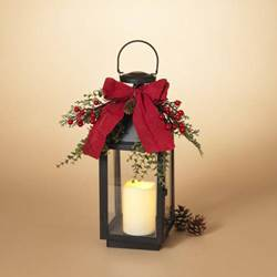 "16""H B/O Lighted Metal Lantern w/ PVC Accents, Includes 4""H LED Candle w/ Timer"