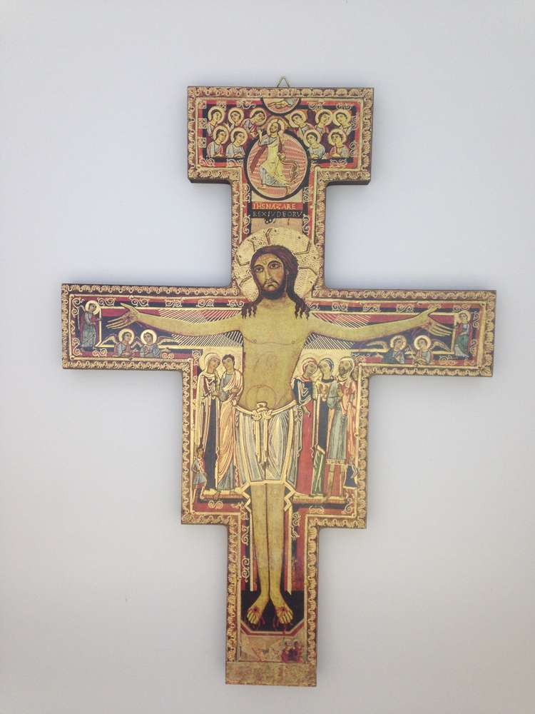 "16"" San Damiano Wall Cross #6 Thick San Damiano 6 Mm. 280 X 390"