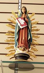 "16"" Wood Carved Our Lady Of Guadalupe Made In Italy"