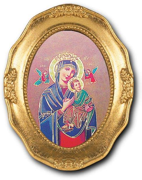 Our Lady of Perpetual Help Small Oval Framed Picture