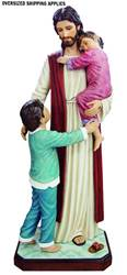 16729 Jesus with 2 Children 4ft Fiberglass Full Color Handpainted