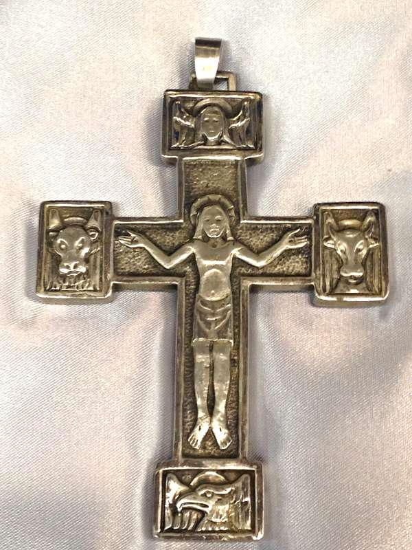 1698D Pectoral Cross Sterling Silver Made In Italy