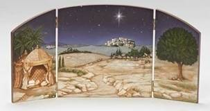 "18.25"" wide Nativity Scene Triptych Backdrop for 5"" Scale Figures"