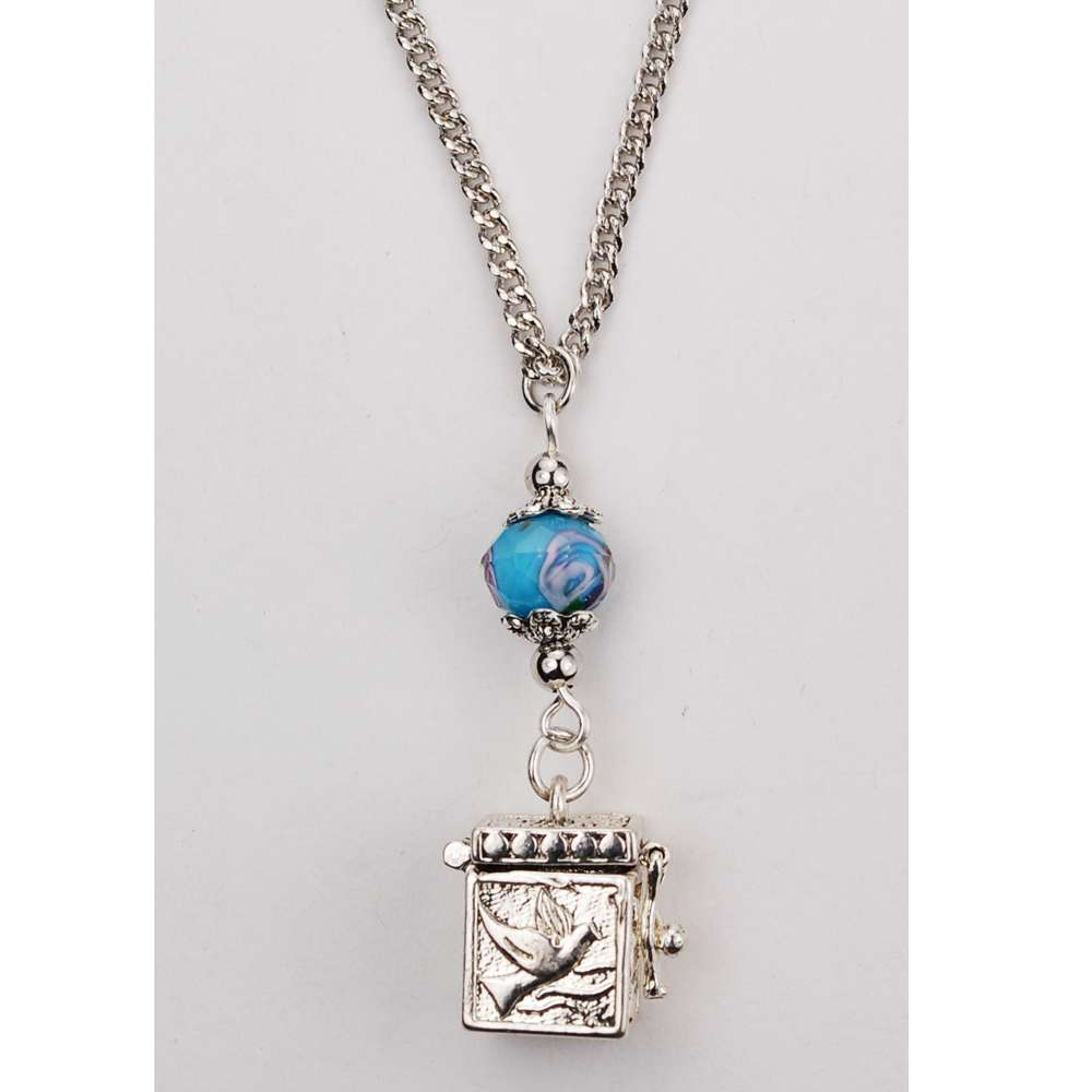 "18"" Aqua Prayer Box Pendant"