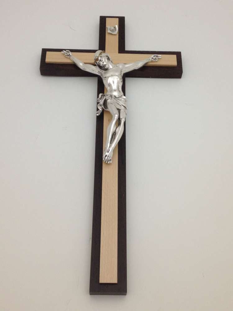 "19"" 2- Tone  Wall Cross with Silver Corpus"