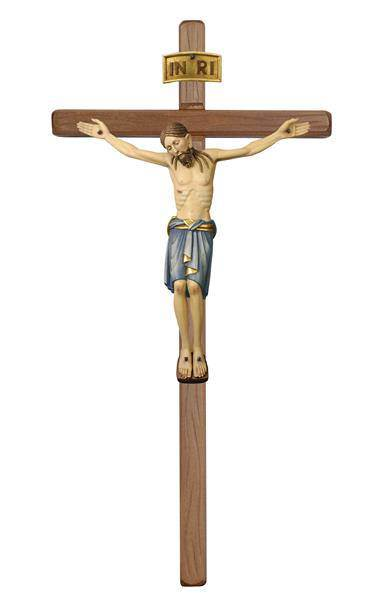"19"" Crucifix from Italy! ?Straight Wooden Wall Cross with 8"" San Damiano Colored Corpus ?For decades PEMA (Peter Mahlknecht) has been a prominent wood carving shop in Italy."