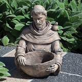 "Saint Francis Outdoor Bird Bath ?19"" tall, resin/stone mix; 19"" tall x 14"" wide"
