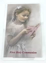 First Communion Girl Laminated Prayer Card