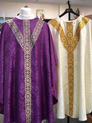 "2-312C St. Andrew Cross Chasuble  Traditional vestment with ""Y"" band St Andrew Cross Design"