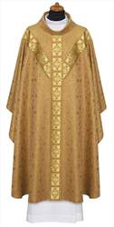 2-317 Gold Chasuble with Banding - Roll Collar
