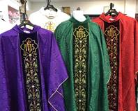 2-83 Damask Chasuble with Velvet Embroidered Design