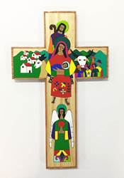 "20"" Holy Family Wood Wall Cross from El Salvador"