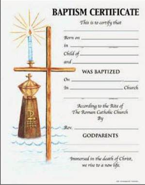 Baptism Certificate with Envelope