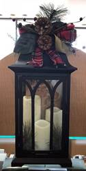 "21.5"" Lighted Metal Holiday Lantern w/Floral Accent"