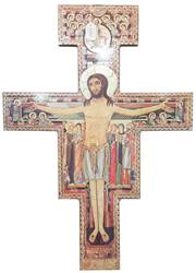 "21.75"" San Damiano Wall Cross with Gold Foil San Damiano, Wall Cross, gold foil, crucifix"
