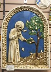 "22.5"" St. Francis Of Assisi Della Robbia Wall Hanging *WHILE SUPPLIES LAST* della robbia, pictures from italy, st francis of assisi, wall plaque, italian pottery, italian artwork, italian wall hangings, italian artist, italian bas relief"