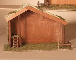 22.8 In. L Wood Nativity Stable with Moss