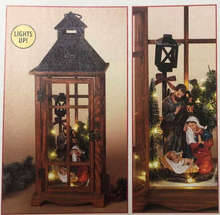 "24"" Battery Operated Wood Lantern with Nativity"
