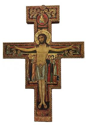 "26"" San Damiano Cross with Thick Red Edge and Gold Foil"