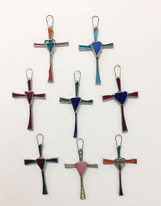"3.25"" Stained Glass Wall Cross from Mexico"