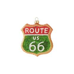"3.5"" Glass Route 66 Christmas Ornament"