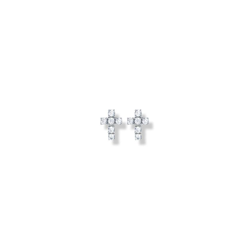 3/8 Inch Sterling Silver Cross Earrings with Crystal CZ Stones