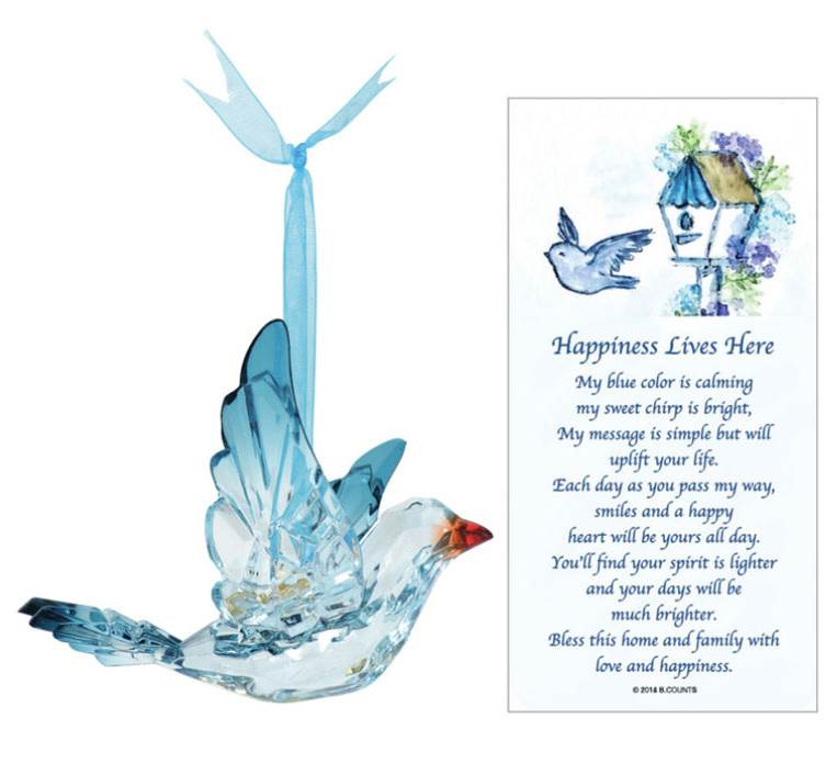 "3"" Acrylic Bluebird Ornament with Story Card"