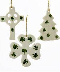 "3"" Asst Porcelain Irish Shamrock Ornaments"