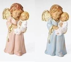 "3"" ""Bless This Child"" Fontanini Figurine  angel statue, fontanini angel, angel with girl, baptism gift, girl baptism present, girl christening, girl angel"
