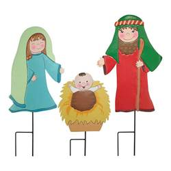3 Piece Metal Nativity Yard Set with Stakes