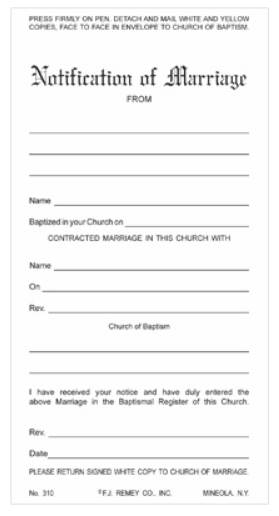 Carbonless Marriage Certificates, Pack of 100