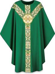 3168 Green Chasuble with O Collar, Lamb emblem, Brugia Fabric, Regina Banding