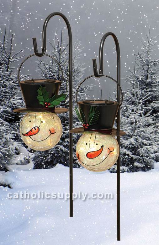 "32"" Garden Hook with Solar Lighted Metal & Crackled Glass Snowman Head"